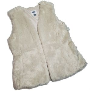 NWT Faux Fur Vest - Off White - Old Navy - long